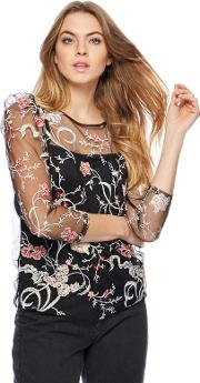 Black Embellished Mesh Top And Camisole