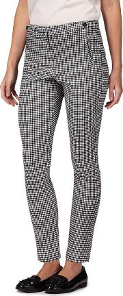 Black Gingham Print Tailored Trousers