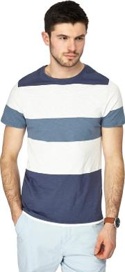 Blue And White Block Striped Slim Fit T Shirt