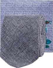 Blue Chambray Tie And Floral Print Pocket Square Set