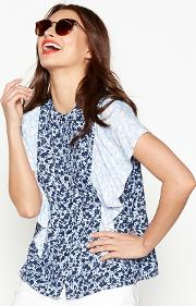 Blue Ditsy Floral Ruffle Shoulder Blouse