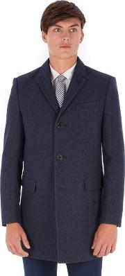 Blue Donegal 3 Button Slim Fit Overcoat