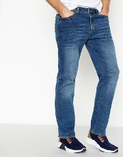 Blue Mid Wash Straight Fit Jeans