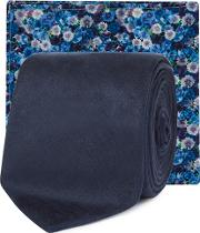 Blue Skinny Tie And Floral Pocket Square