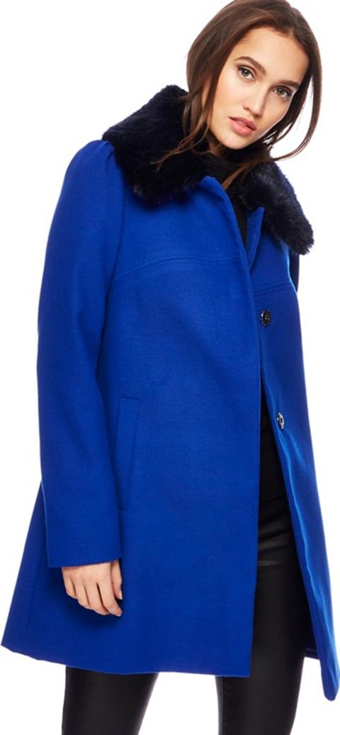 744546b0469d0 red herring Bright Blue Faux Fur Collar Dolly Coat