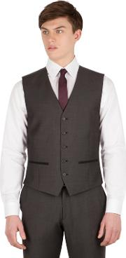 Charcoal Pindot Slim Fit 5 Button Front Waistcoat