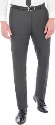 Charcoal Textured With Tipping Slim Fit Suit Trouser