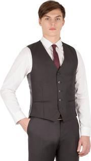 Charcoal Twill 5 Button Slim Fit Suit Waistcoat