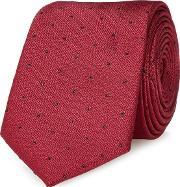 Dark Red Textured And Spot Slim Tie
