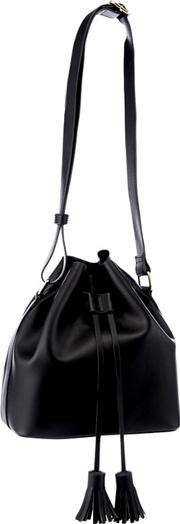 Faith Black Faux Leather Drawstring Tassel Duffle Bag