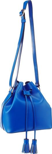 Faith Blue Faux Leather Drawstring Tassel Duffle Bag