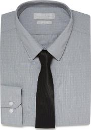 Grey Fine Striped Textured Slim Fit Shirt And Black Tie Set