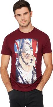 Help For Heroes Dark Red Lion Printed T Shirt