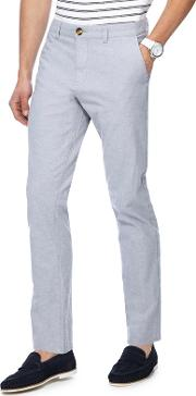 Light Grey Textured Slim Fit Trousers