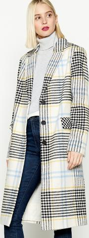 Multicoloured Check Print Coat
