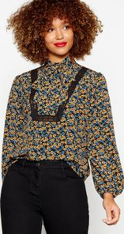 Multicoloured Floral Print Lace Tie Neck Blouse
