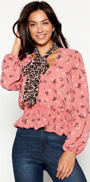 Multicoloured Floral Print Tie Neck Shirred Blouse
