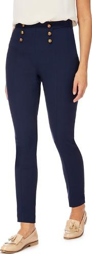 Navy Buttoned Bengaline Trousers