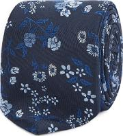 Navy Floral Embroidered Tie