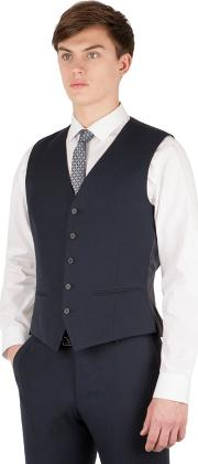 Navy Twill 5 Button Slim Fit Suit Waistcoat