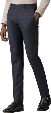 299385f36bc4 Navy With Rust Windowpane Slim Fit Trousers. red herring