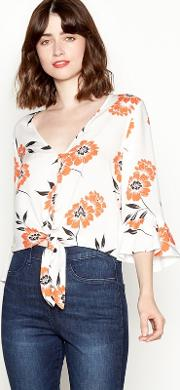 Orange Floral Print V Neck Tie Front Blouse