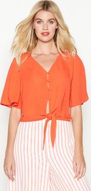 Orange Tie Front Blouse