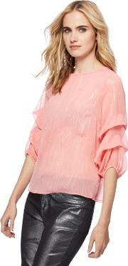 Pink Shimmer Stripe Puff Sleeves Blouse