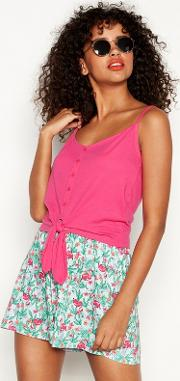 Pink Tie Front Cotton Camisole Top