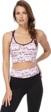 Purple Printed Non Wired Padded Sports Bra