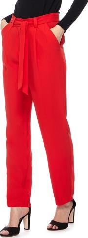 Red Relaxed Fit Trousers