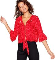 Red Spot Print Ruffle Blouse
