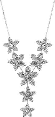 Silver Plated Clear Flower Allway Necklace