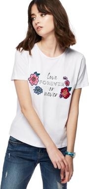 White love Forever Or Never Printed T Shirt
