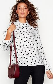 White Polka Dot Flared Cuff Shirt