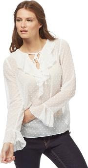 White Textured Spot Ruffle Blouse