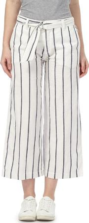White Wide Leg Cropped Trousers