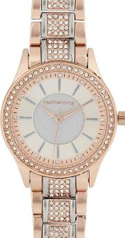 Womens Rose Gold Plated Diamante Embellished Analogue Watch