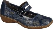 Blue date Flower Trim Mary Jane Shoes