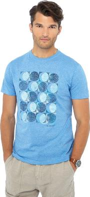 Big And Tall Blue Circle Sketch Print Tailored Fit T Shirt