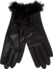 Black Faux Fur Cuff Leather Gloves