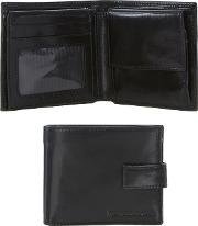 Black Leather Tabbed Wallet In A Gift Box