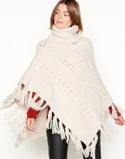 Cream Cable Knit Roll Neck Poncho