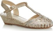 Girls' Gold Jewel T Bar Caged Toe Wedge Sandals