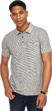 Grey Fine Striped Tailored Fit Polo Shirt