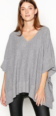 Grey Ribbed Knit Poncho