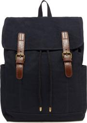 Navy Flat Top Canvas Backpack