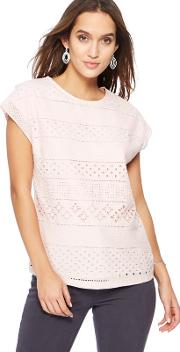 Pink Broderie Anglaise Jersey Top