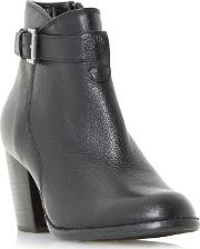 Black plume Strap Detail Heeled Ankle Boots