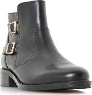 Black pria Double Buckle Ankle Boots